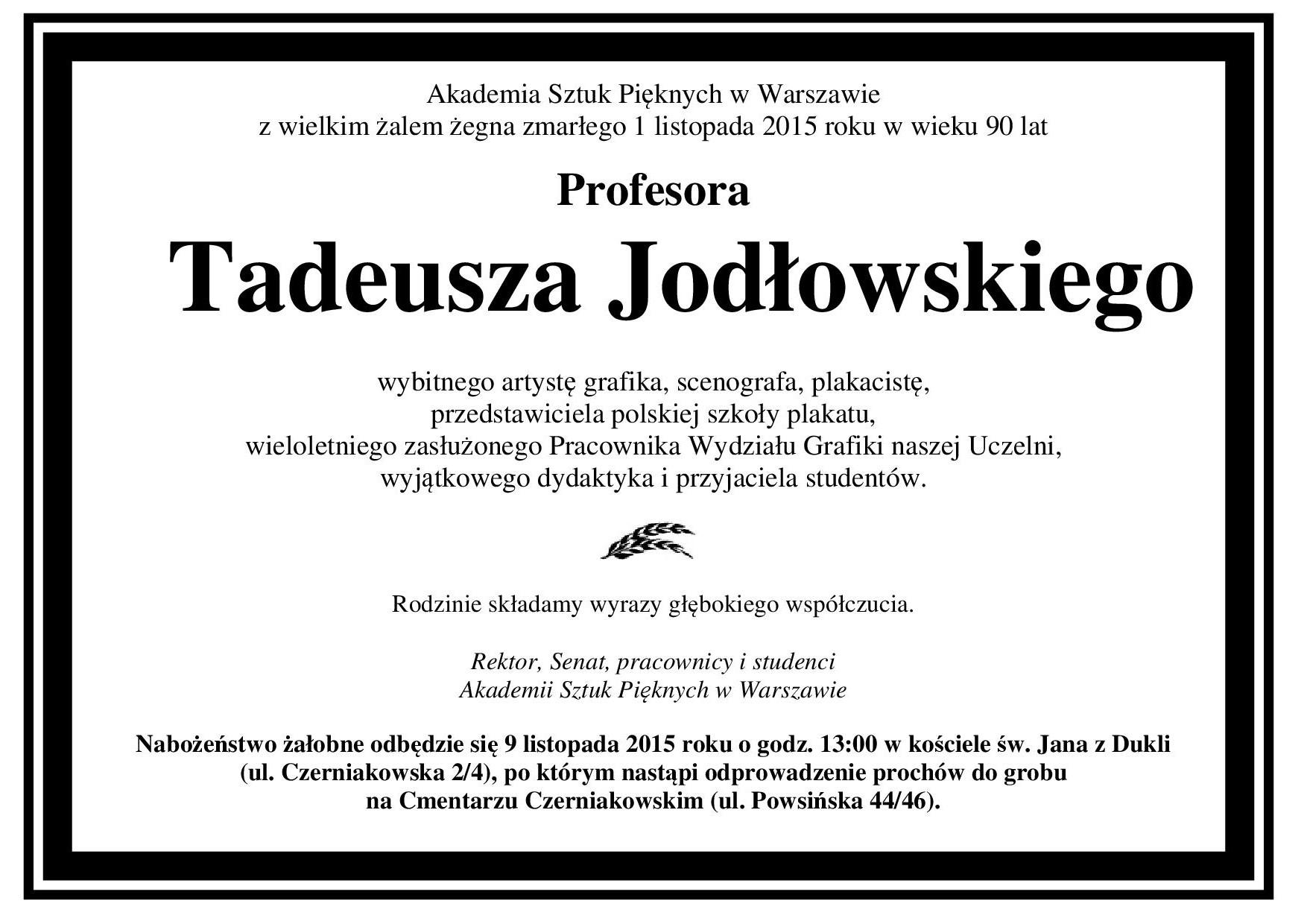 Nekrolog prof. Tadeusz Jodłowski z pogrzebem