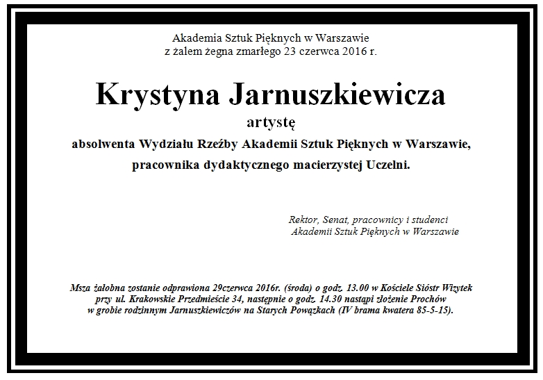 nekrolog K. Jarnuszkiewicz