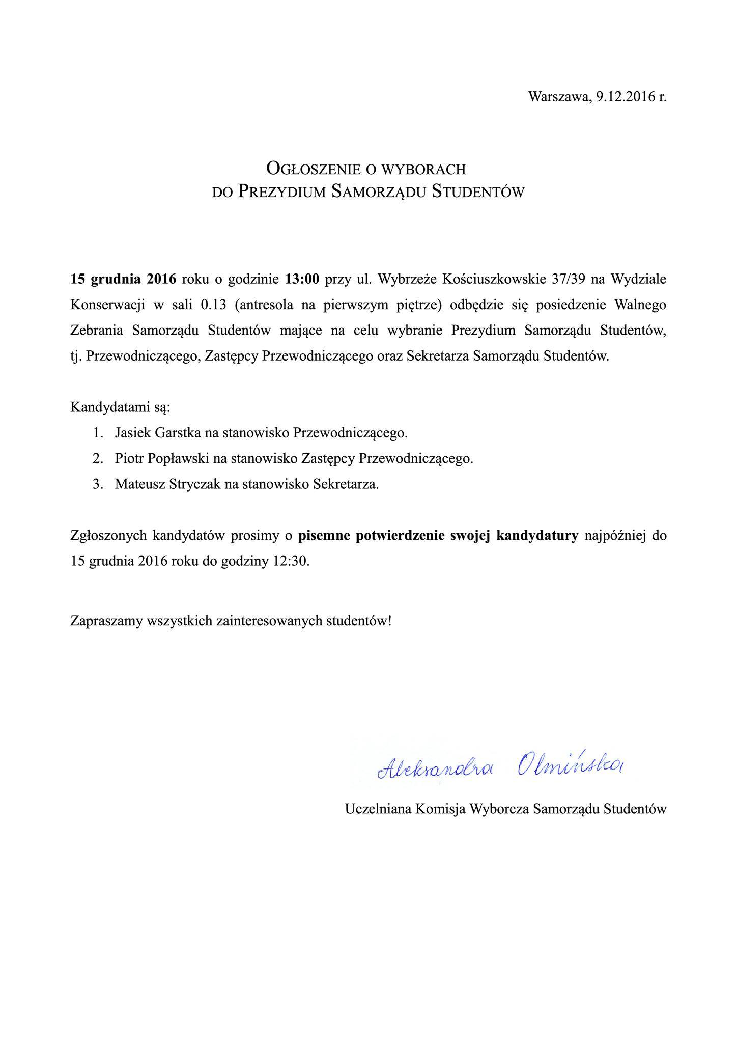 Ogłoszenie o wyborach do Prezydium Samorządu Studentów