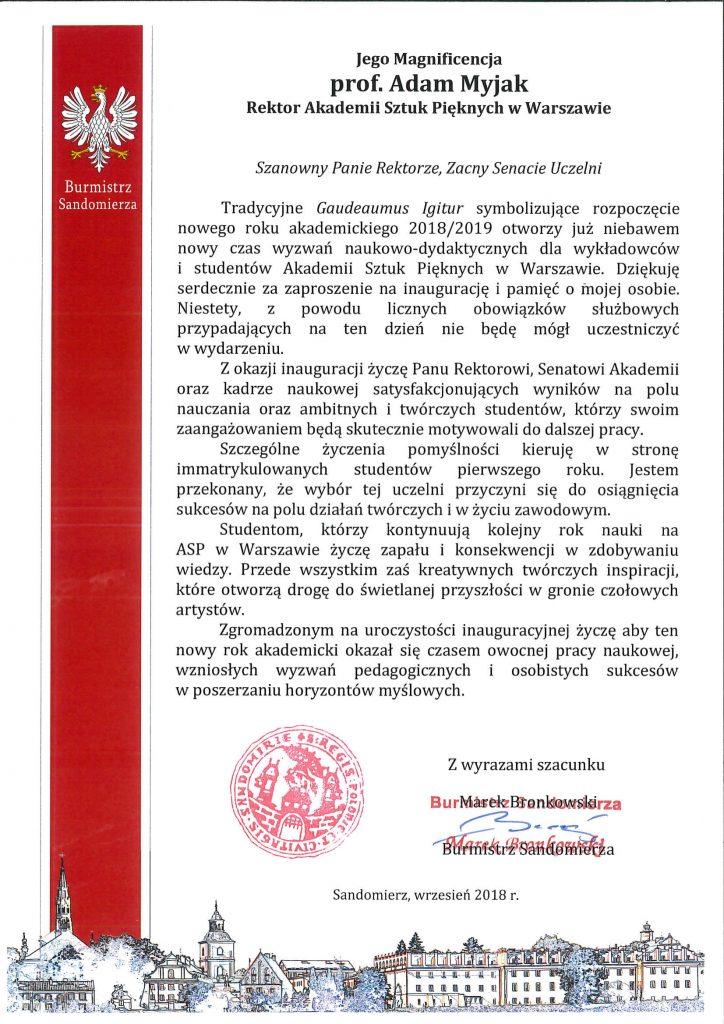 List Burmistrza Sandomierza Marka Bronkowskiego