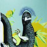 Ogród Rozkoszy, Krokodylus serigrafia, akwaforta, akwatinta, akryl 100 x 70 cm 2020