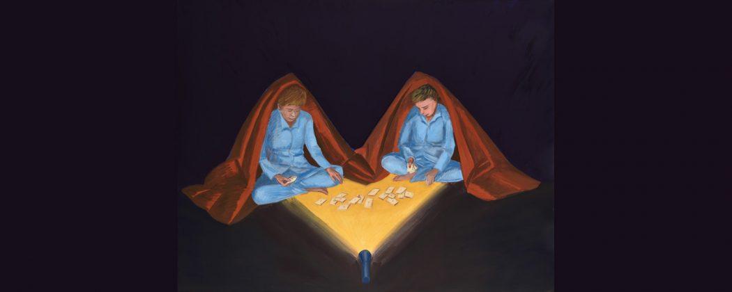 """grafika tytulowa - Jarosław Modzelewski, """"Dwaj Jarkowie"""" grają na koloniach w karty własnej roboty, 2021, tempera jajowa, płótno, 140 x 180 cm - fot. Agata Ciołkowa"""