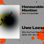 """27th International Poster Biennale in Warsaw, Main Competition, Honourable Mention, Uwe Loesch, Germany, """"Who the fuck was that?"""""""