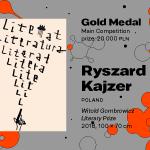 """27. MBP wWarszawie, KONKURS GŁÓWNY, Ryszard Kajzer, Polska, """"Witold Gombrowicz Literary Prize"""", ZŁOTY MEDAL (20 000 PLN)"""
