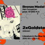 """27th International Poster Biennale in Warsaw, Main Competition, III 2xGoldstein, Germany, """"Literature in the Blue Salon (3 Readings)"""", BRONZE MEDAL (PLN 10,000)"""