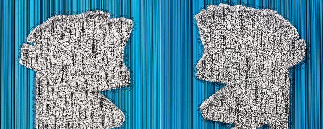 Praca prezentowana na wystawie_Andrzej Węcławski z cyklu_The Note_Zapis XIV_niebieski_druk cyfrowy_intaglio_149x116 cm_2019