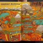 """Komiks dla dzieci """"Którędy doYellowstone? Dzika podróż poparkach narodowych"""" Aleksandry iDaniela Mizielińskich."""